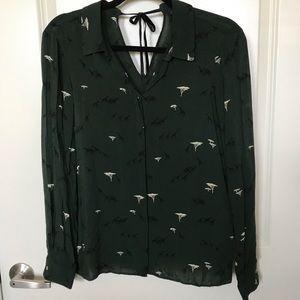Zara Basic Long Sleeve Safari Print Blouse